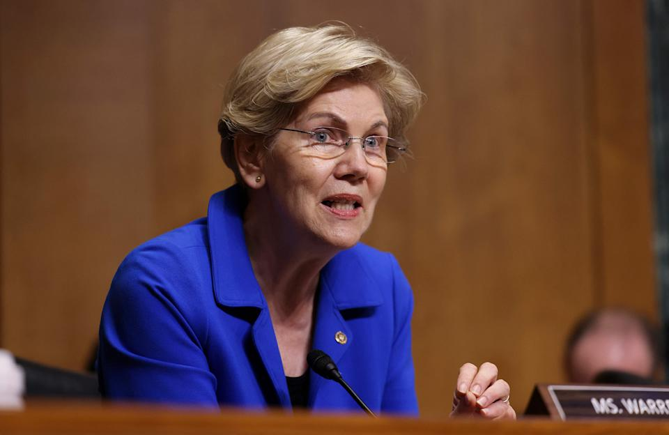 Senator Elizabeth Warren (D-MA) speaks during a Senate Finance Committee hearing on the IRS budget request on Capitol Hill in Washington,DC on June 8, 2021. (Photo by EVELYN HOCKSTEIN / POOL / AFP) (Photo by EVELYN HOCKSTEIN/POOL/AFP via Getty Images)