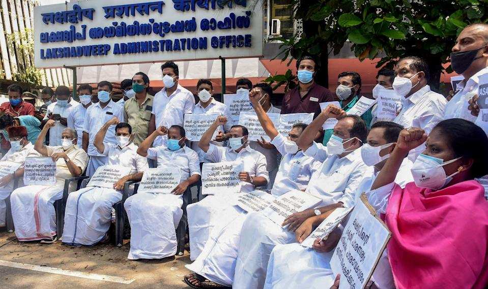 """United Democratic Front (UDF) MPs stage a protest demanding withdrawal of the proposed """"anti-people laws"""" by the central government in Lakshadweep islands, outside Lakshadweep Administrator's Office in Kochi on Monday, 7 June."""