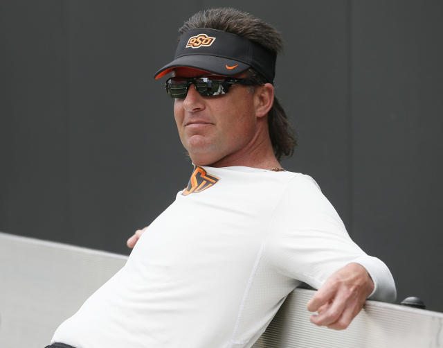 Mike Gundy hopes his Cowboys are in as good of condition as his mullet is entering the 2017 season. (AP)