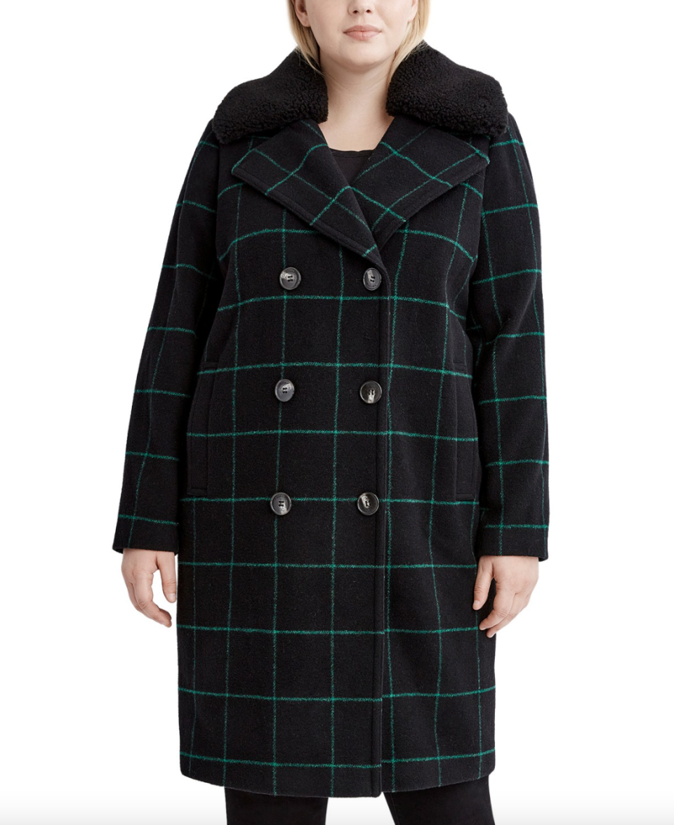 Tahari Plus Size Faux-Fur-Collar Plaid Coat (Photo via Macy's)