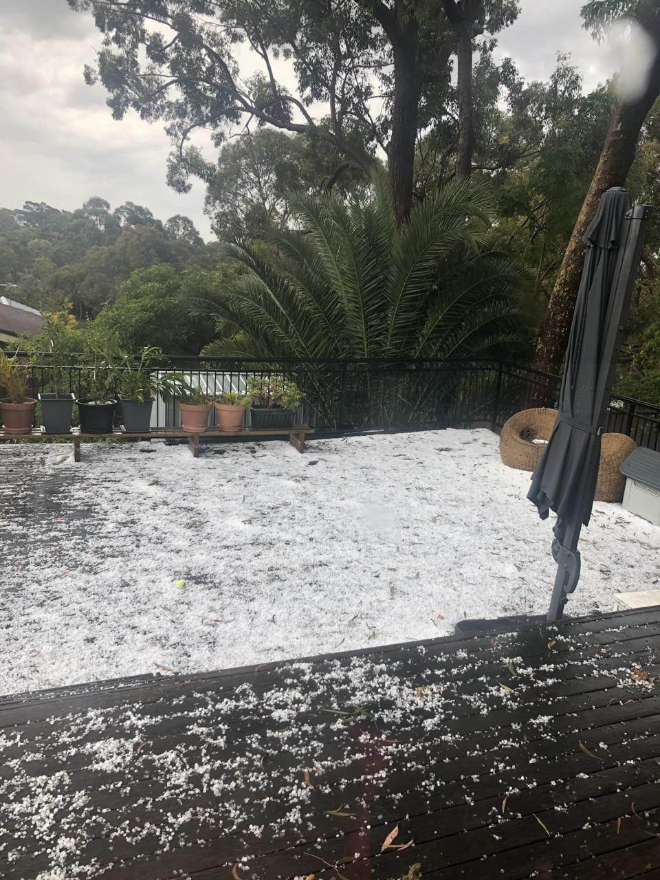 Hail blankets the ground at a property in Bangor, Sydney.