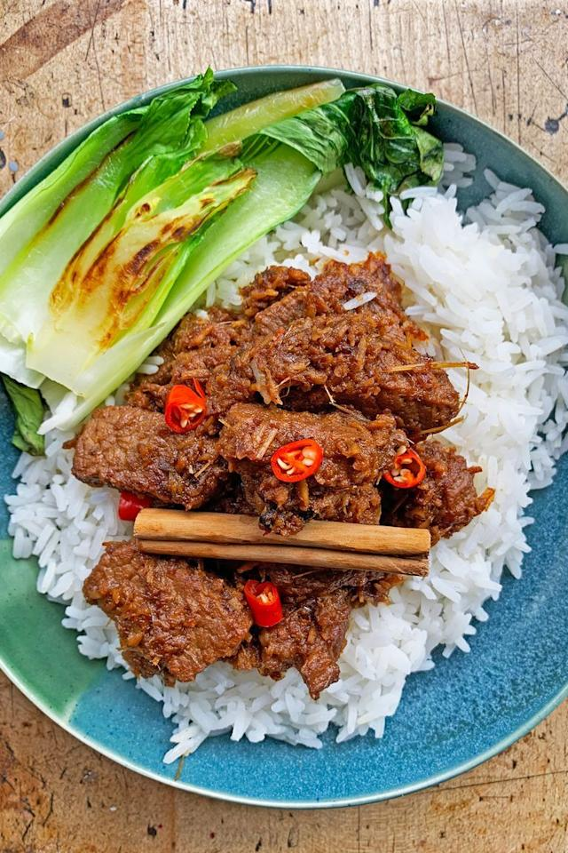 """<p>Beef Rendang is one of our favourite <a href=""""https://www.delish.com/uk/curry-recipes/"""" target=""""_blank"""">curry</a> recipes. Fragrant and rich, Rendang is made using <a href=""""https://www.delish.com/uk/beef-recipes/"""" target=""""_blank"""">beef</a> and <a href=""""https://www.delish.com/uk/cooking/recipes/a30269010/fish-curry/"""" target=""""_blank"""">coconut</a> to give it a fantastic sweet, salty and umami flavour. </p><p>Get the <a href=""""https://www.delish.com/uk/cooking/recipes/a32080618/beef-rendang/"""" target=""""_blank"""">Beef Rendang</a> recipe.</p>"""