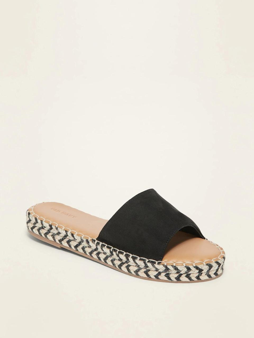 <p>Your fashionable cousin can rock these stylish <span>Faux-Suede Espadrille Slide Sandals</span> ($30) with a pair of jean shorts. It comes in a tan and leopard print pattern. </p>