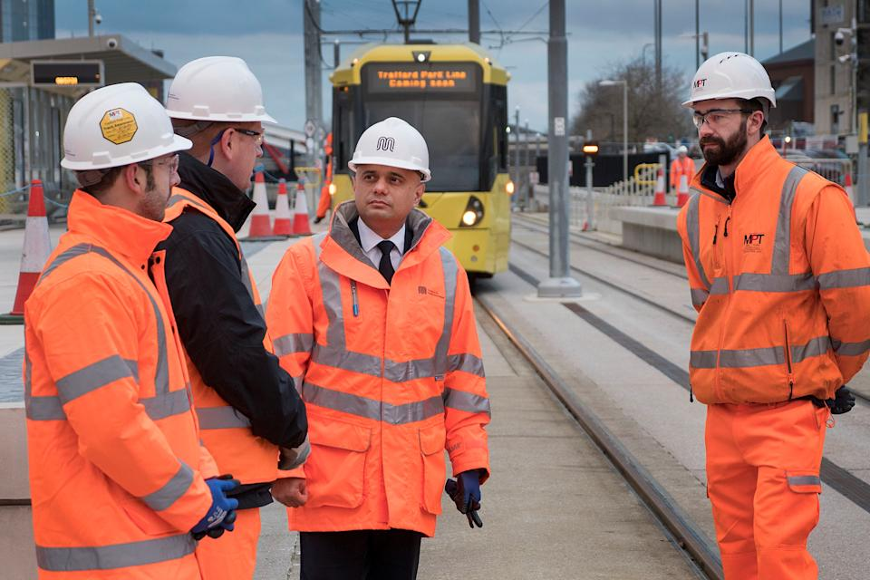 The Treasury released images of chancellor Sajid Javid at a construction site for the Trafford Park tram line project in Greater Manchester as the UK budget date for 2019 was announced. Photo: HM Treasury