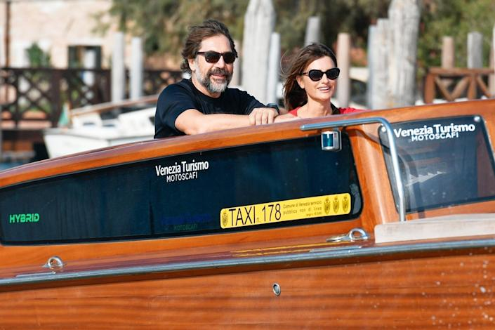 <p>Penelope Cruz and Javier Bardem cruise around during a taxi boat tour in Venice, Italy on Sept. 11.</p>