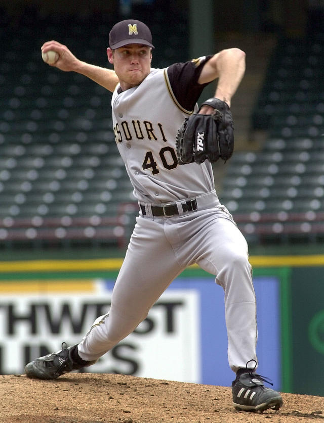 FILE - In this May 26, 2004 file photo, Missouri pitcher Garrett Broshuis (40) throws in the first inning against Oklahoma during the Big 12 Conference championship tournament in Arlington, Texas. Broshuis is the driving force of a lawsuit against Major League Baseball, alleging violations of federal wage and overtime laws in a case some legal observers suggest has significant merit. (AP Photo/LM Otero, File)