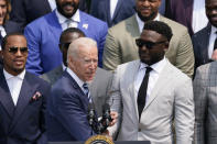 President Joe Biden shakes hands with Tampa Bay Buccaneers wide receiver Chris Godwin as he arrives for a ceremony on the South Lawn of the White House, in Washington, Tuesday, July 20, 2021, to honor the Super Bowl Champion Tampa Bay Buccaneers for their Super Bowl LV victory. (AP Photo/Andrew Harnik)