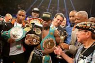 May 2, 2015; Las Vegas, NV, USA; Floyd Mayweather Jr celebrates with the championship belts after defeating Manny Pacquiao (not pictured) after 12 rounds in a unanimous judges decision during a boxing fight at the MGM Grand Garden Arena. Mandatory Credit: Mark J. Rebilas-USA TODAY Sports TPX IMAGES OF THE DAY