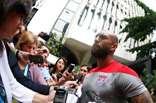 Tim Howard speaks with the media in Sao Paulo. (Getty)