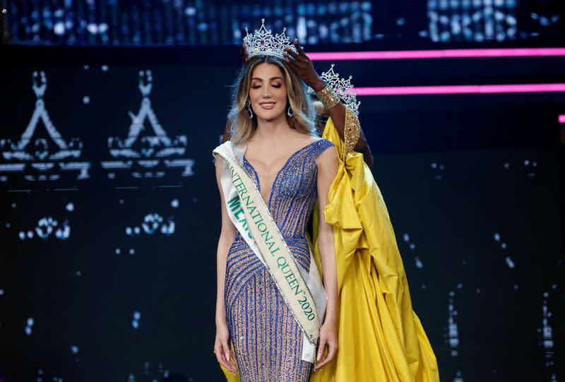 Mexico's Valentina Fluchaire receives crown at the final show of the Miss International Queen 2020 transgender beauty pageant in Pattaya