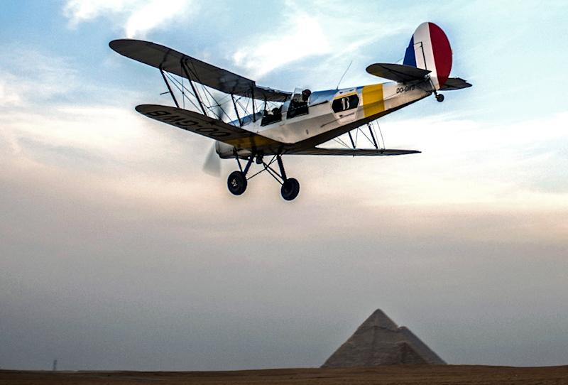 The Vintage Air Rally (VAR) has already taken pilots to Egypt's Gaza pyramids, where they became the first aircraft to land in 80 years (AFP Photo/Khaled Desouki)