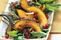 """Delicata squash cooks in butter until it becomes soft and charred, then it gets tossed with dandelion greens in a punchy pomegranate dressing. <a href=""""https://www.epicurious.com/recipes/food/views/dandelion-salad-with-pomegranate-seeds-pine-nuts-and-roasted-delicata-squash-233136?mbid=synd_yahoo_rss"""" rel=""""nofollow noopener"""" target=""""_blank"""" data-ylk=""""slk:See recipe."""" class=""""link rapid-noclick-resp"""">See recipe.</a>"""