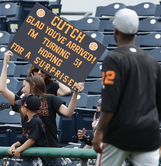 San Francisco Giants' Andrew McCutchen (22) takes the field for warmups before a baseball game against the Pittsburgh Pirates in Pittsburgh, Friday, May 11, 2018. It is McCutchen's first game in Pittsburgh since being traded from the Pirates to the Giants in the off season. (AP Photo/Gene J. Puskar)