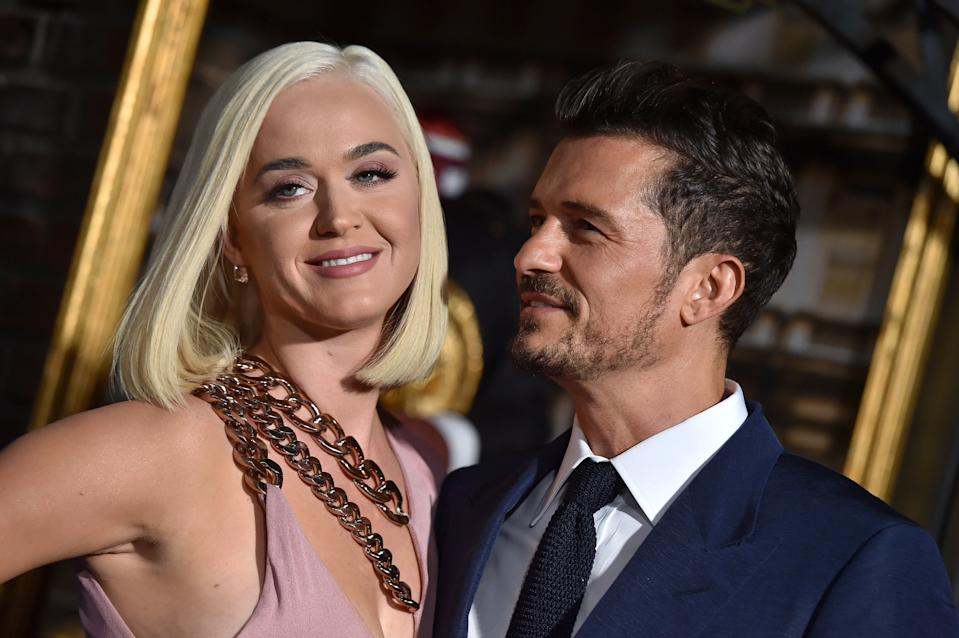HOLLYWOOD, CALIFORNIA - AUGUST 21: Katy Perry and Orlando Bloom attend the LA Premiere of Amazon's
