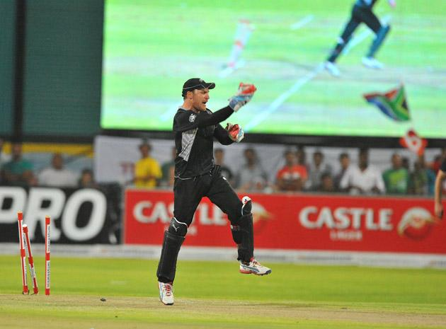 Brendon McCullum runs out Farhaan Behardien of South Africa for 30 runs during the 2nd One Day International match between South Africa and New Zealand at De Beers Diamond Oval on January 22, 2013 in Kimberley, South Africa.(Photo by Duif du Toit/Gallo Images/Getty Images)