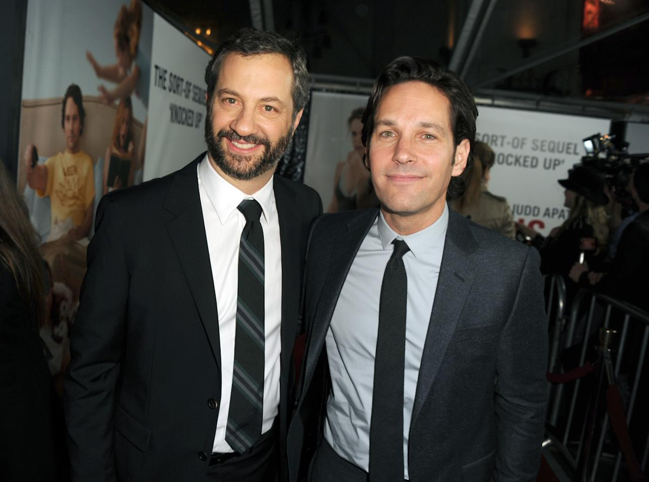"""HOLLYWOOD, CA - DECEMBER 12:  Director Judd Apatow and actor Paul Rudd attend the Premiere Of Universal Pictures' """"This Is 40"""" at Grauman's Chinese Theatre on December 12, 2012 in Hollywood, California.  (Photo by Kevin Winter/Getty Images)"""