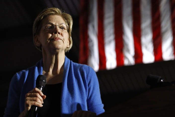 Democratic presidential candidate Sen. Elizabeth Warren, D-Mass., speaks during a primary election night rally, Tuesday, March 3, 2020, at Eastern Market in Detroit. (AP Photo/Patrick Semansky)