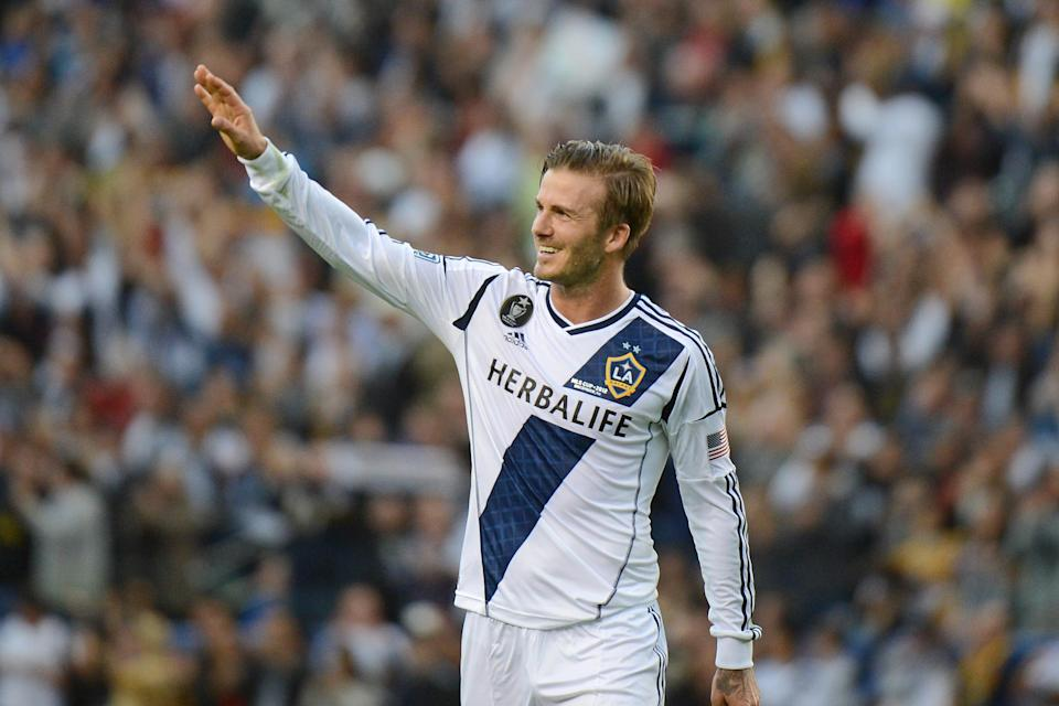 David Beckham, at his last game for the Los Angeles Galaxy in 2012.