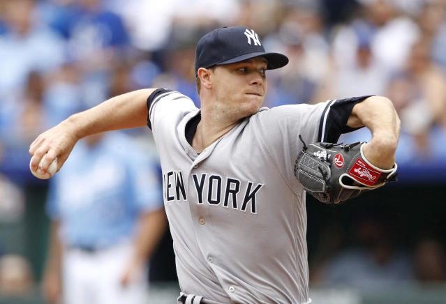 New York Yankees starting pitcher Sonny Gray throws during the first inning of a baseball game against the Kansas City Royals Sunday, May 20, 2018, in Kansas City, Mo. (AP Photo/Charlie Riedel)