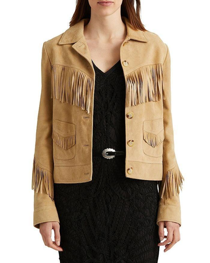 <p>This <span>Ralph Lauren Fringe Trim Suede Jacket</span> ($595) is exactly what comes to mind when we think of a fringe jacket, and of course it's Ralph Lauren. We love the buttons, the placement of the fringe, the collar, and the pockets!</p>