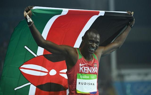 Kenya's David Rudisha, in a file image, celebrates his victory in the men's 800m final during the athletics event at the Rio 2016 Olympic Games at the Olympic Stadium in Rio de Janeiro (AFP Photo/Johannes EISELE)