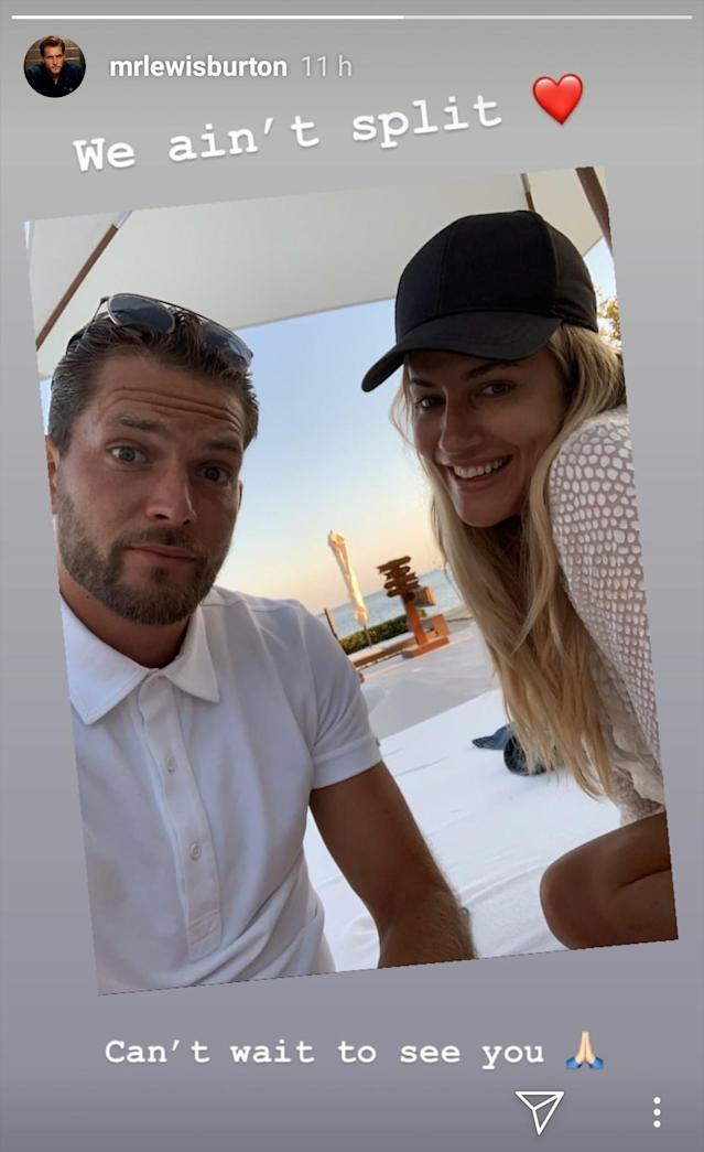 Lewis Burton has confirmed he and Caroline Flack are still together following assault charge (Instagram/@mrlewisburton)