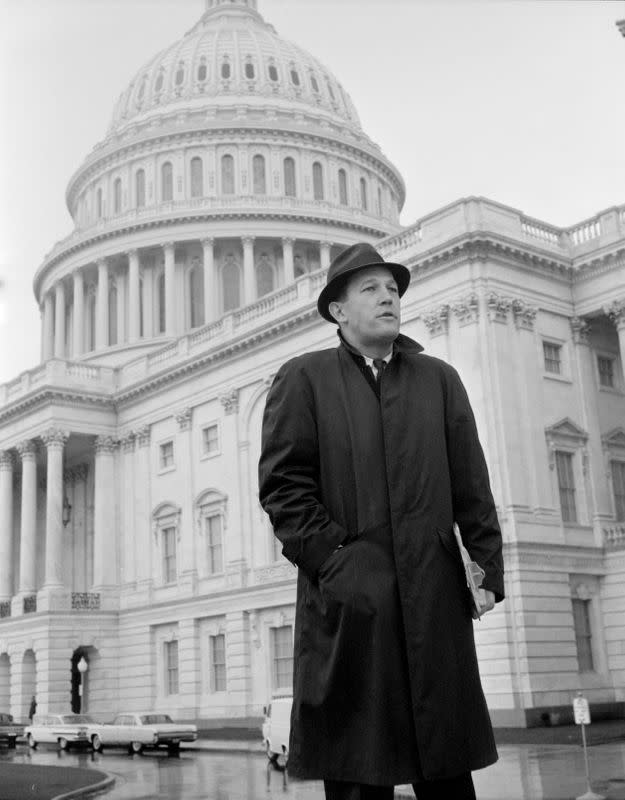 CBS News correspondent Roger Mudd is seen at the United States Capital to cover the Civil Rights debate in Washington