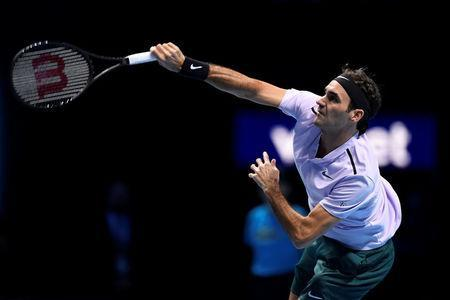 Tennis - ATP World Tour Finals - The O2 Arena, London, Britain - November 12, 2017 Switzerland's Roger Federer in action during his group stage match against USA's Jack Sock Action Images via Reuters/Tony O'Brien