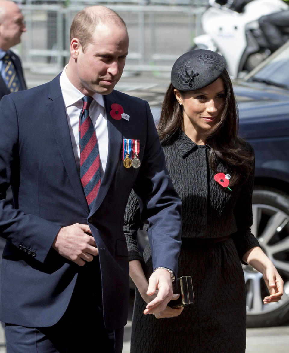 Meghan Markle and Prince William, Duke of Cambridge attend an Anzac Day service at Westminster Abbey on April 25, 2018 in London, England.