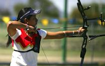 Mexican Archer Mariana Avitia, 18, in action during the selective Grand Prix of Archery for the Youth Olympic Games at the sport center of UANL on March 12, 2010 in Monterrey, Mexico. (Alfredo Lopez/Jam Media/LatinContent/Getty Images)