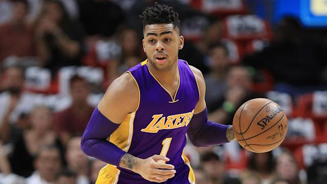 Magic Johnson threw some serious shade at D'Angelo Russell Friday as the team introduced first-round draft pick Lonzo Ball.