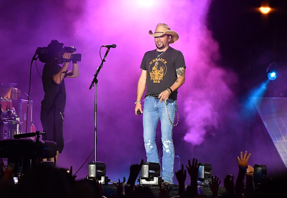 Jason Aldean was performing at the Route 91 Harvest country music festival in Las Vegas on Sunday night with someone began shooting into the crowd. (Mindy Small via Getty Images)