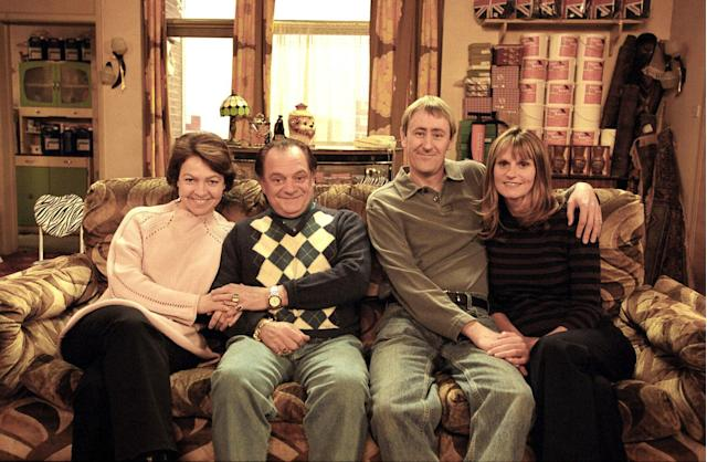 Raquel (Tessa Peake-Jones), Del (David Jason), Rodney (Nicholas Lyndhurst) and Cassandra (Gwyneth Strong) in a Christmas Only Fools and Horses special (BBC)