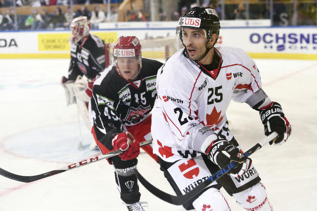 <p>Lapierre (right), a native of Brossard, Quebec, is currently playing for Lugano of the National League in Switzerland. He was drafted by the Montreal Canadiens in the third round of the 2003 NHL entry draft (61st overall). Lapierre was traded to the Anaheim Ducks in 2010 before he was sent to the Vancouver Canucks two months later. He signed with the St. Louis Blues in 2013 before he was traded to the Pittsburgh Penguins in 2015. </p>