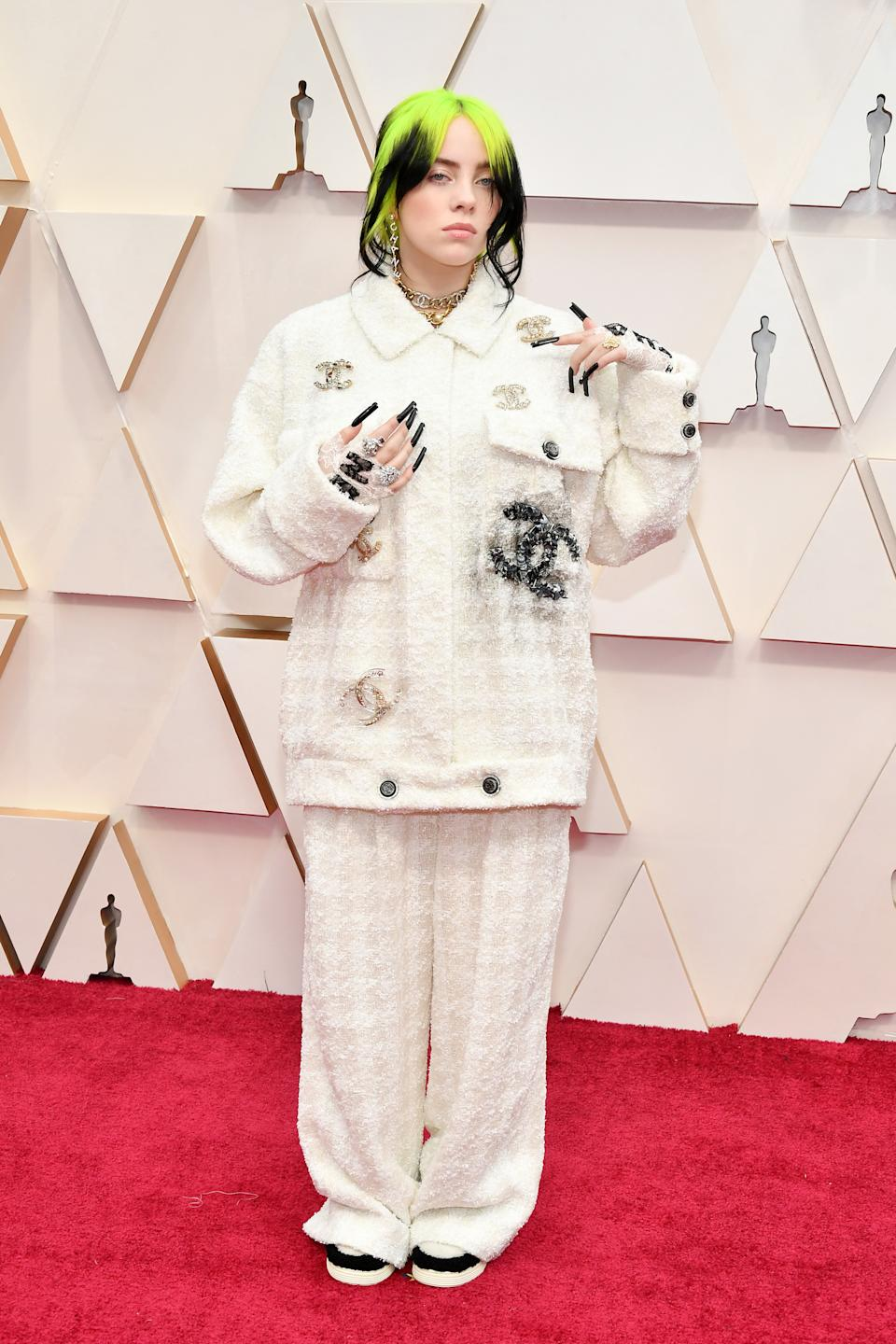 The Grammy winner wore head-to-toe Chanel for her first Oscars red carpet.