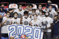 Villanova celebrates the win in 2k Empire Classic, after an NCAA college basketball game against Arizona State, Thursday, Nov. 26, 2020, in Uncasville, Conn. (AP Photo/Jessica Hill)