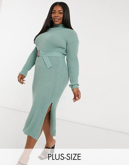"""<br><br><strong>In The Style Plus x Billie Faiers</strong> Roll Neck Knitted Dress With Belt, $, available at <a href=""""https://go.skimresources.com/?id=30283X879131&url=https%3A%2F%2Ffave.co%2F35BeyxS"""" rel=""""nofollow noopener"""" target=""""_blank"""" data-ylk=""""slk:ASOS"""" class=""""link rapid-noclick-resp"""">ASOS</a>"""