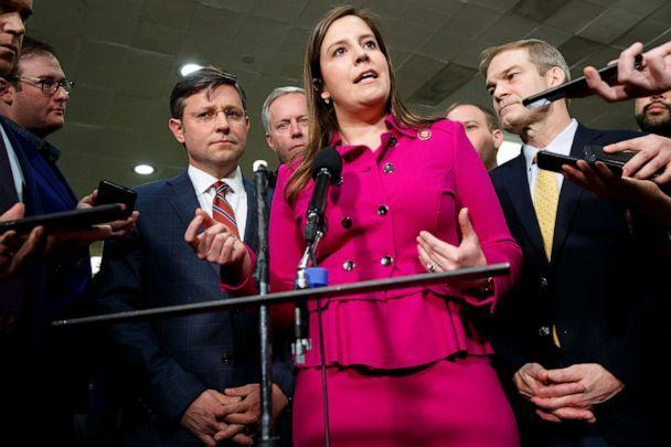 PHOTO: Rep. Elise Stefanik, center, accompanied by, from left, Reps. Mike Johnson, Mark Meadows, Lee Zeldin, and Jim Jordan, speaks to the media before the impeachment trial of President Donald Trump on Capitol Hill in Washington, Jan. 23, 2010. (Jacquelyn Martin/AP, File)