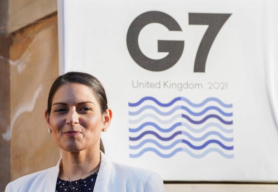 Home Secretary Priti Patel met her French counterpart during the G7 interior minsiters' meeting at Lancaster House in London. (Ian West/PA) (PA Wire)