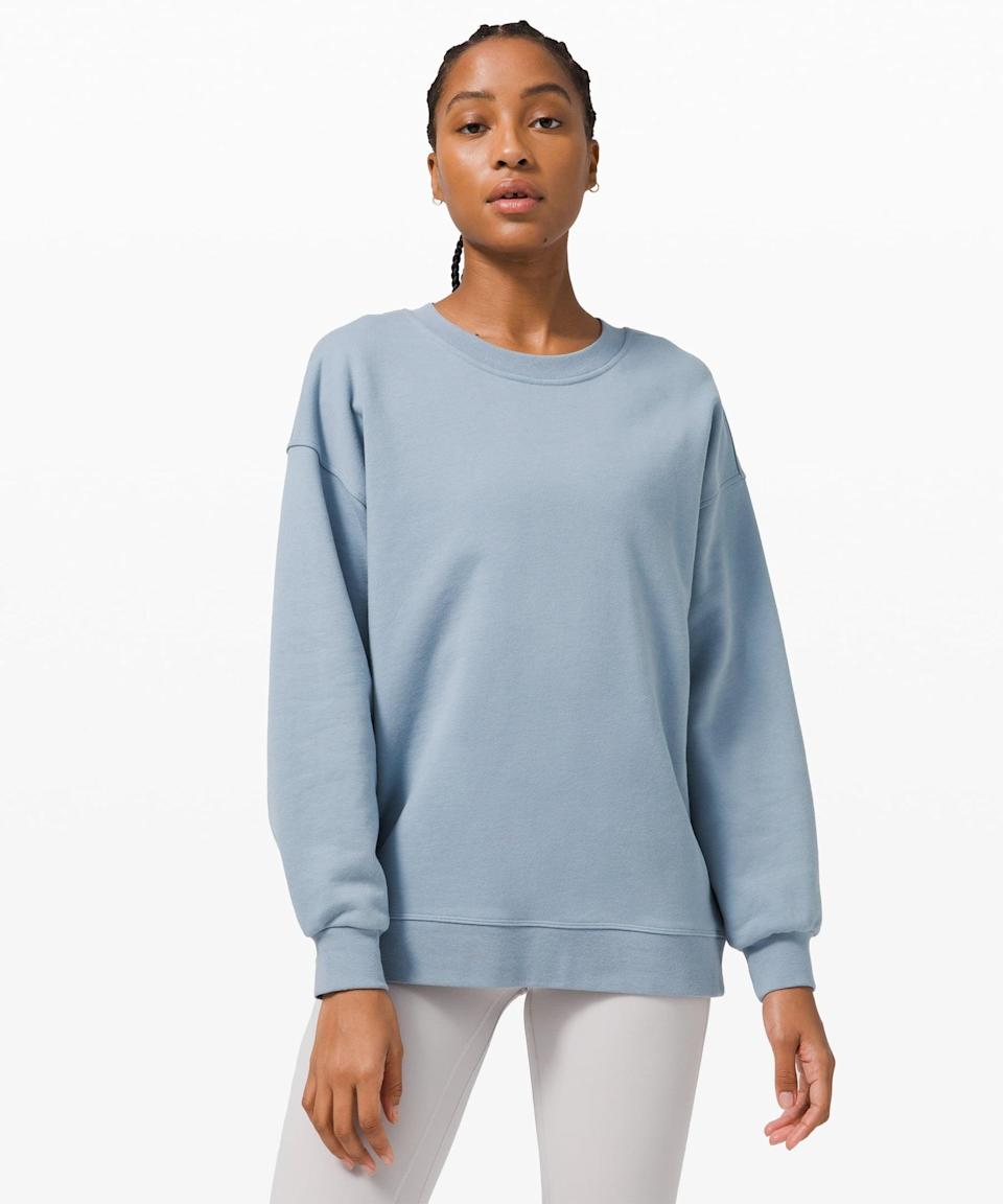 <p>There's nothing better than this <span>Lululemon Perfectly Oversized Crew</span> ($108). It comes in a bunch of different colors, but we're into this sky blue.</p>