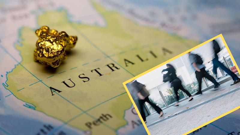 Pictured: Australian map with gold nugget suggesting salary, Australian workers walking. Images: Getty