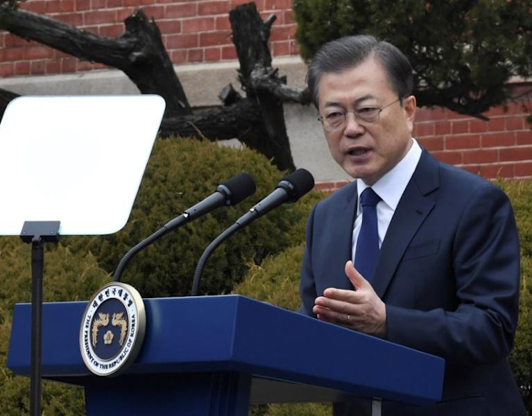 FILE PHOTO - South Korea's President Moon Jae-in speaks during a ceremony in Seoul