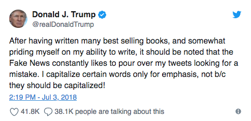"""Donald Trump's tweet boasts about his """"best selling books"""" and his ability to write — and it includes a typo. (Image: Donald Trump via Twitter)"""