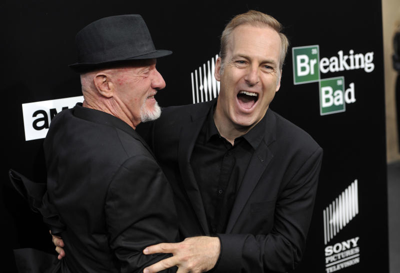 "FILE - This July 24, 2013 file photo shows former cast member Jonathan Banks, left, and current cast member Bob Odenkirk, from ""Breaking Bad,"" on the red carpet at a premiere screening to celebrate the final episodes in Los Angeles. AMC and Sony Pictures Television on Wednesday confirmed that Odenkirk, who plays Saul Goodman, will star in a one-hour prequel tentatively titled ""Better Call Saul."" Breaking Bad"" concludes its much-acclaimed five-season run on Sept. 29. (Photo by Chris Pizzello/Invision/AP, File)"
