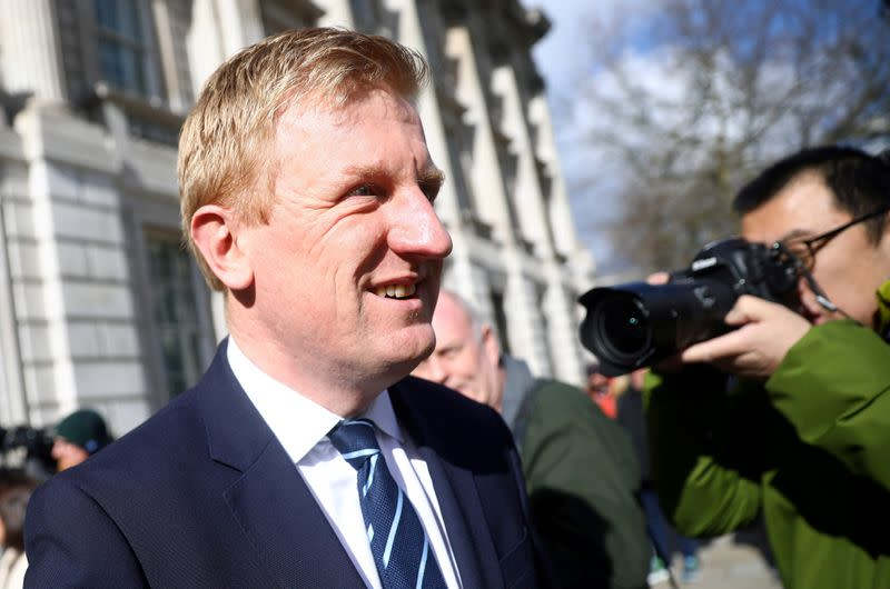 Britain's Secretary of State for Digital Culture, Media and Sport Oliver Dowden is seen outside Cabinet office in Whitehall in London