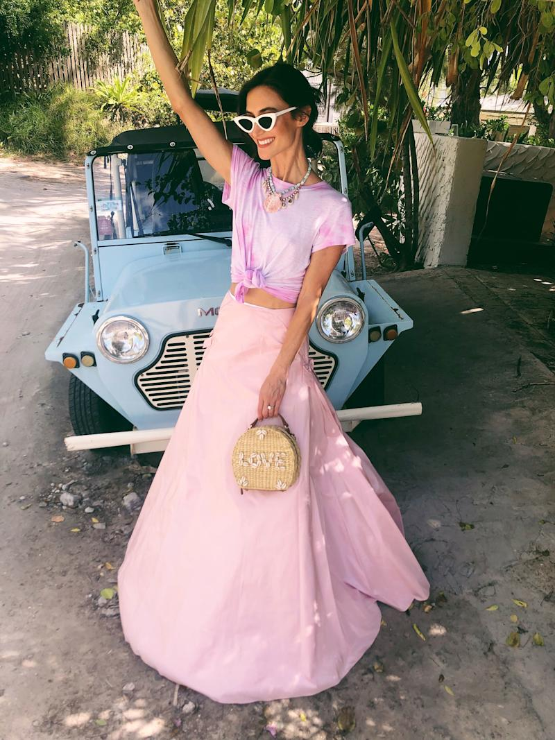 Post-wedding and thinking pink (and turquoise) in a Dannijo taffeta skirt, tie-dye tee, and jewels. My bag is Dannijo x Poolside. Now off to the honeymoon!
