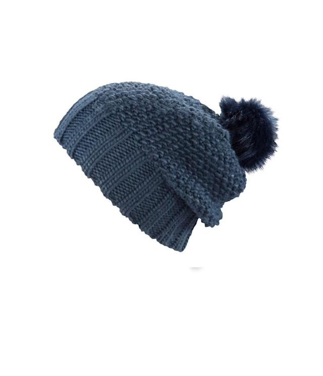"<p>This slouchy beanie, shown in indigo, is made from an extrasoft and nubby acrylic yarn, and topped with a faux fur pompom dyed to match. (<a href=""https://pistildesigns.com/products/juliette?variant=53880144021"" rel=""nofollow noopener"" target=""_blank"" data-ylk=""slk:$34, Pistil"" class=""link rapid-noclick-resp"">$34, Pistil</a>) </p>"