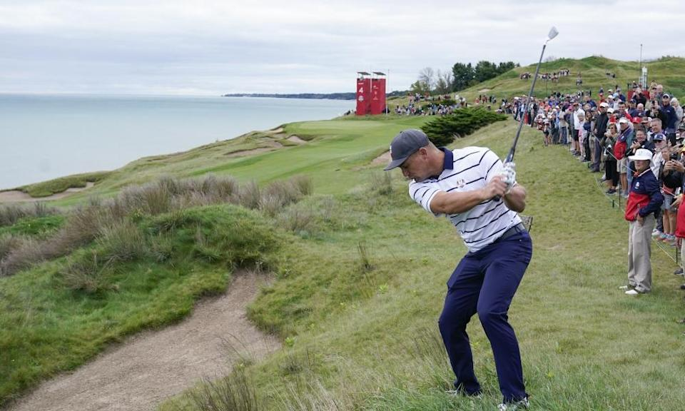 Bryson DeChambeau, who is right-handed, plays the opposite way in practice at Whistling Straits.