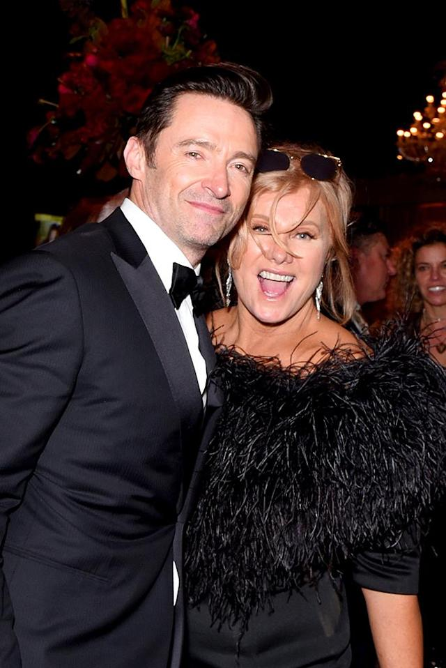 <p>Hugh Jackman and Deborra-Lee Furness attend the Fox, FX, and Hulu 2018 Golden Globe after-party. (Photo: Presley Ann/Getty Images) </p>