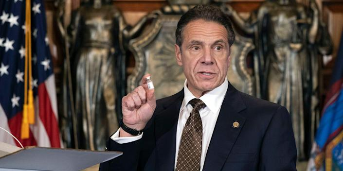 new york gov andrew cuomo coronavirus vaccine vial